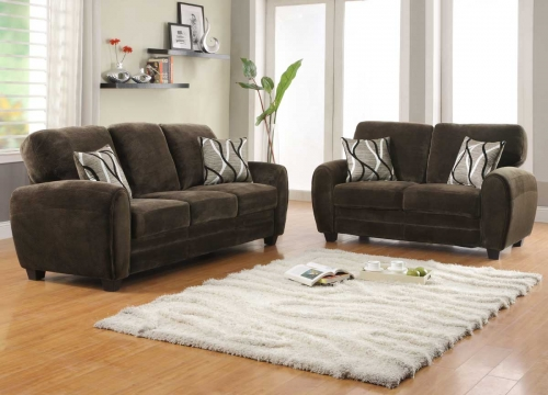 Rubin Sofa Set - Chocolate Textured Microfiber
