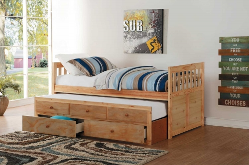 Bartly Twin Bed with Trundle and Two Storage Drawers - Natural Pine