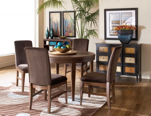 Beaumont Round Dining Set - Brown Cherry