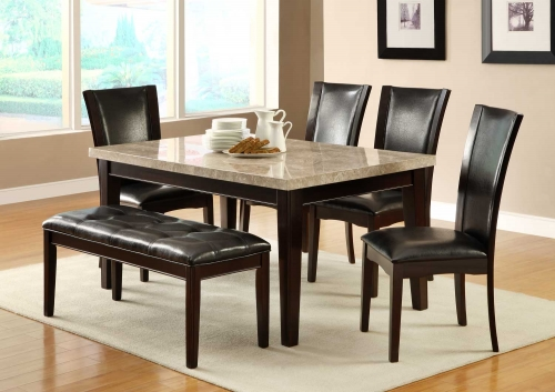 Hahn Dining Set - Ivory Marble Top/Dark Brown