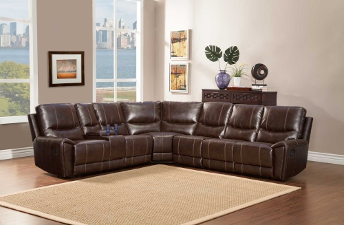 Gerald Sectional Sofa Set - Brown - Bonded Leather Match
