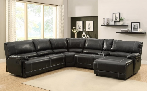 Cale Sectional Sofa Set - Black - Bonded Leather Match