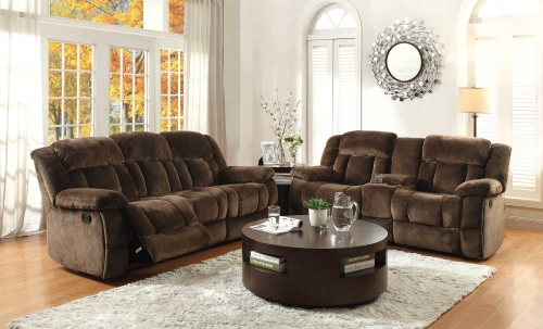 Laurelton Reclining Sofa Set - Chocolate - Textured Plush Microfiber