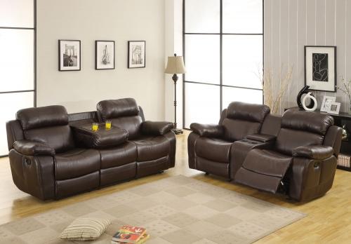 Marille Reclining Sofa Set - Dark Brown - Bonded Leather Match